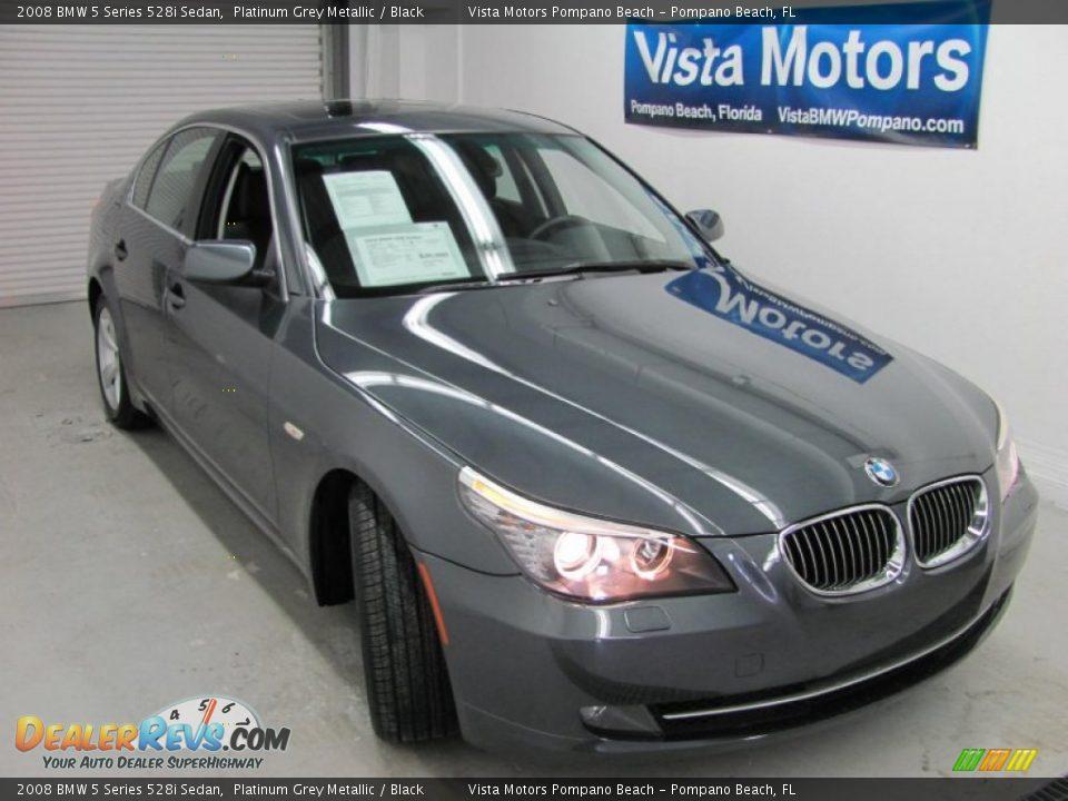 2008 BMW 5 Series 528i Sedan Platinum Grey Metallic / Black Photo #1