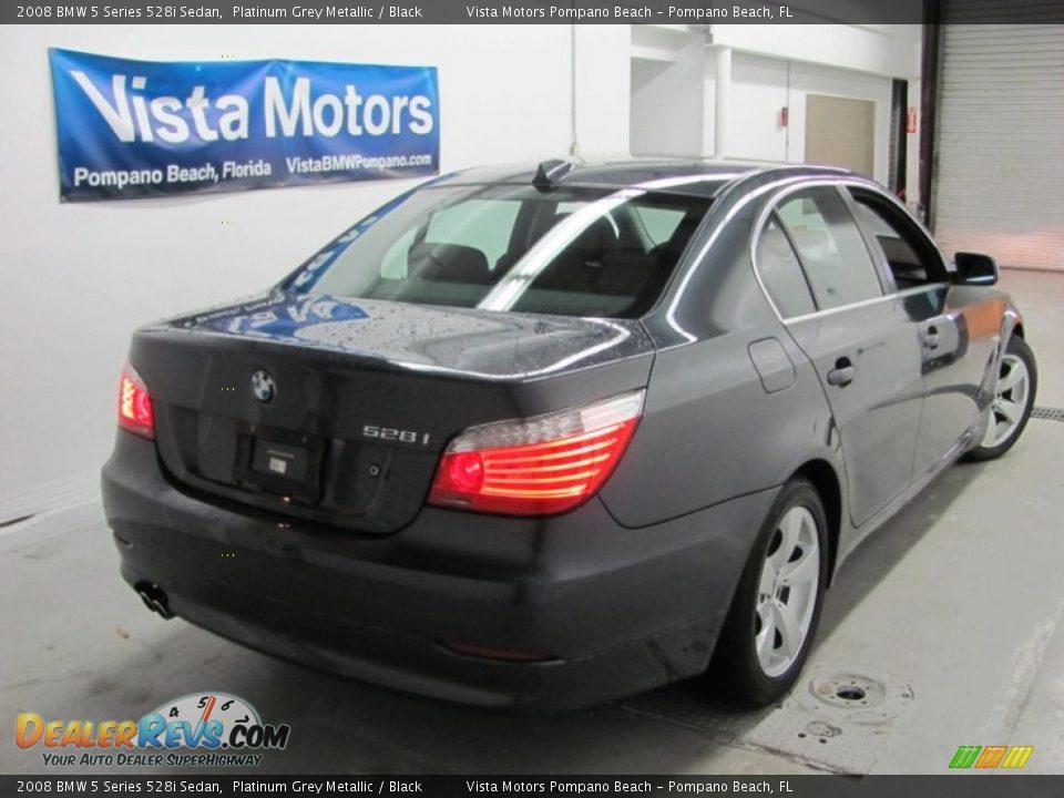 2008 BMW 5 Series 528i Sedan Platinum Grey Metallic / Black Photo #6