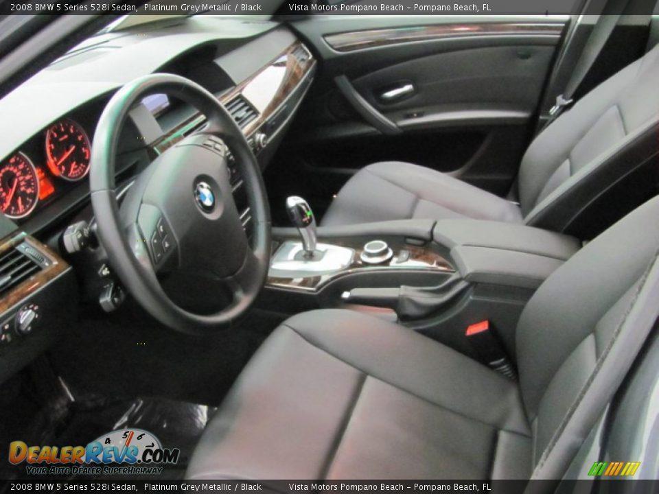 2008 BMW 5 Series 528i Sedan Platinum Grey Metallic / Black Photo #7
