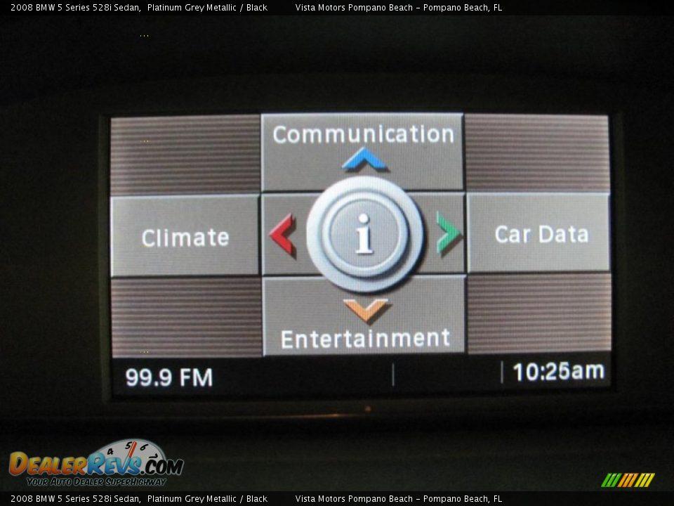 2008 BMW 5 Series 528i Sedan Platinum Grey Metallic / Black Photo #10