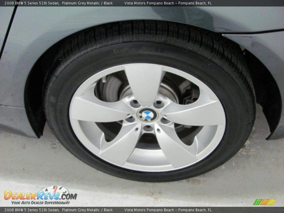 2008 BMW 5 Series 528i Sedan Platinum Grey Metallic / Black Photo #19