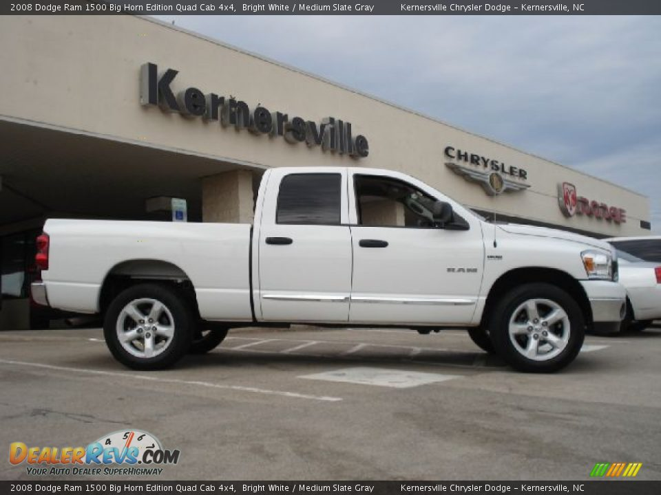 2008 dodge ram 1500 big horn edition quad cab 4x4 bright white medium slate gray photo 2. Black Bedroom Furniture Sets. Home Design Ideas