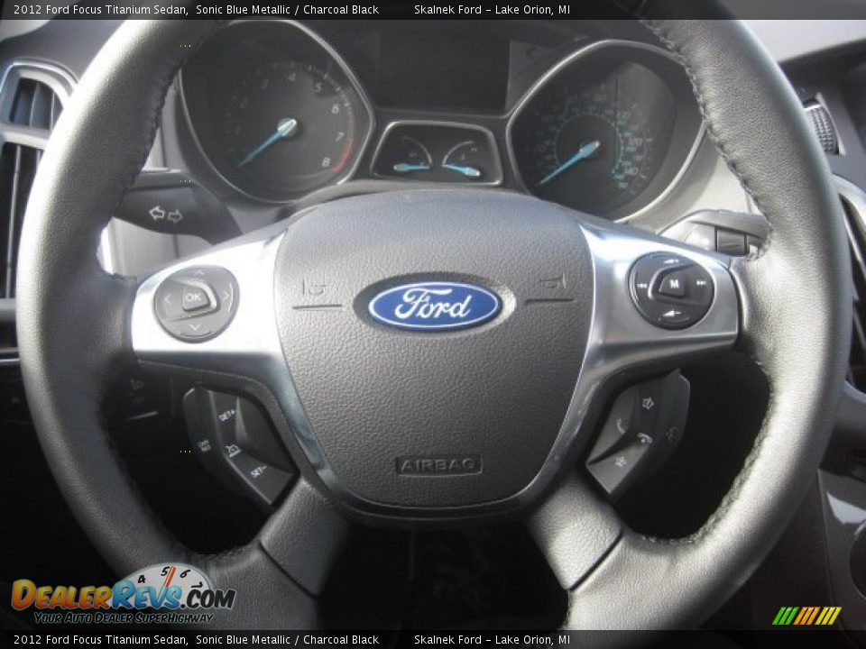 2012 Ford Focus Titanium Sedan Sonic Blue Metallic / Charcoal Black Photo #14