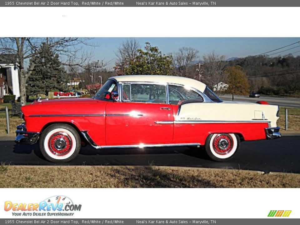 Red/White 1955 Chevrolet Bel Air 2 Door Hard Top Photo #2
