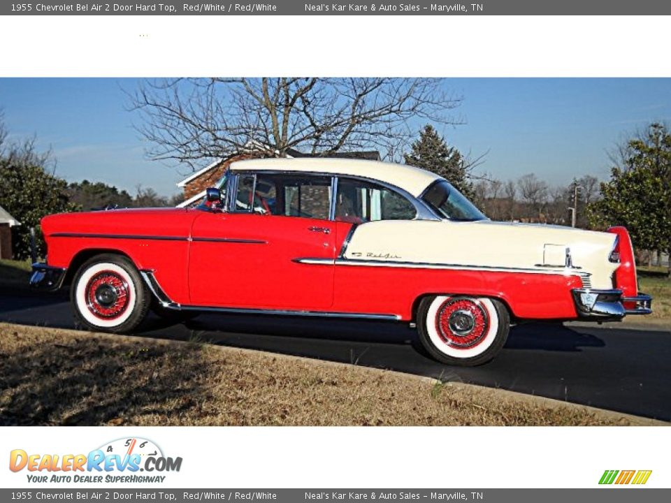 Red/White 1955 Chevrolet Bel Air 2 Door Hard Top Photo #16
