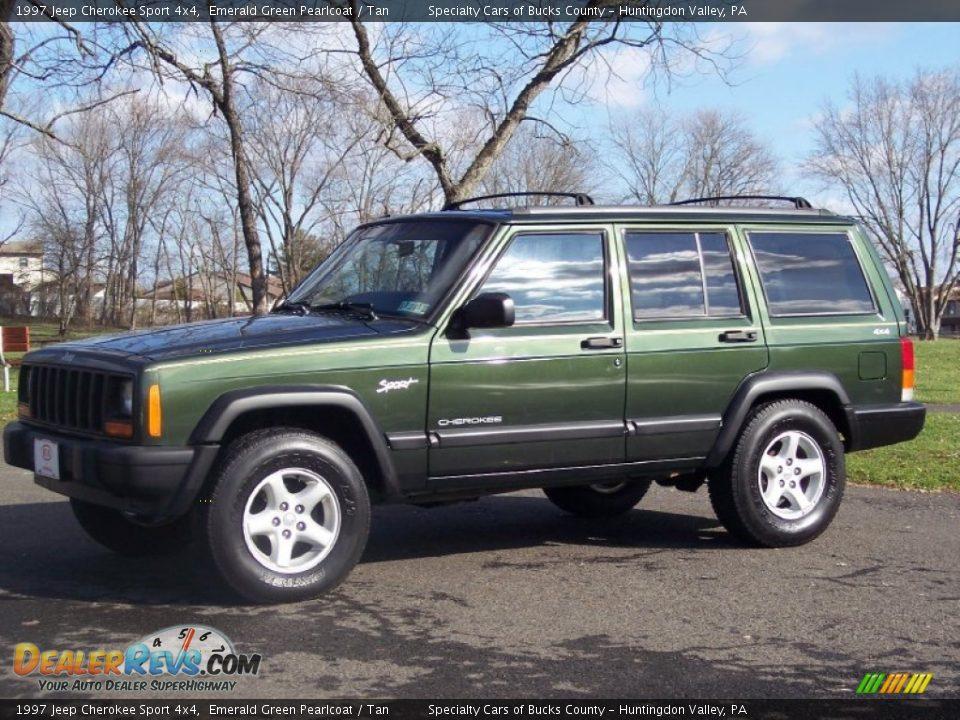 1997 jeep cherokee sport 4x4 emerald green pearlcoat tan photo 1 dealerrevs com