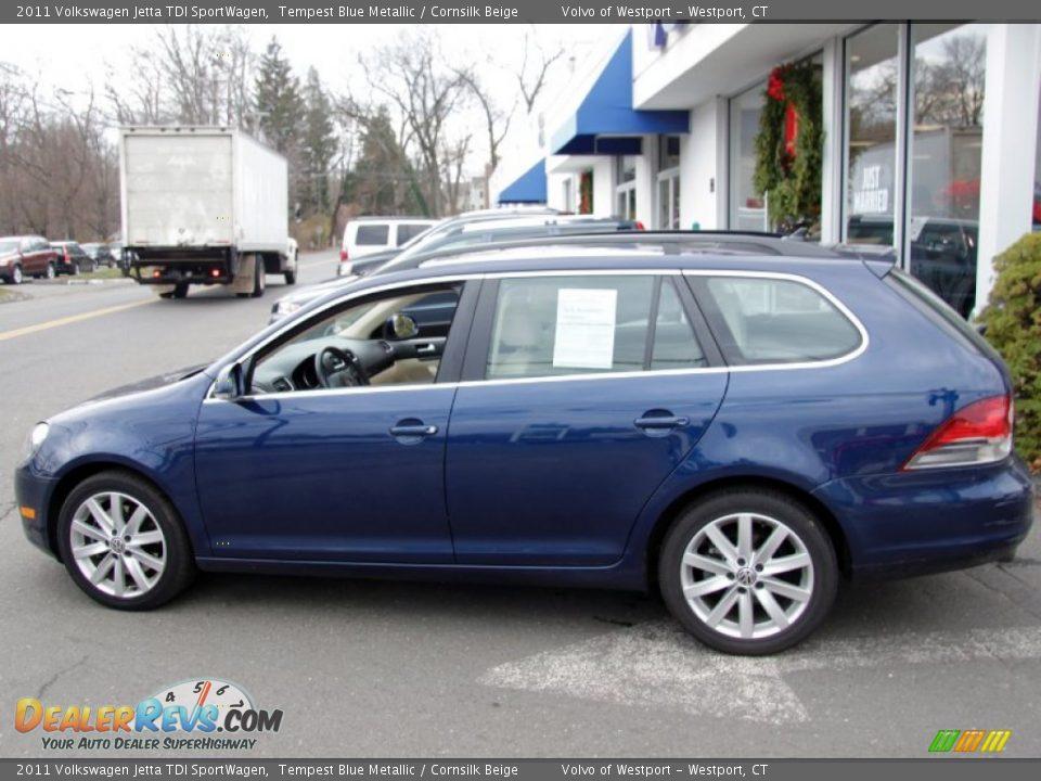 2011 Volkswagen Jetta TDI SportWagen Tempest Blue Metallic / Cornsilk ...