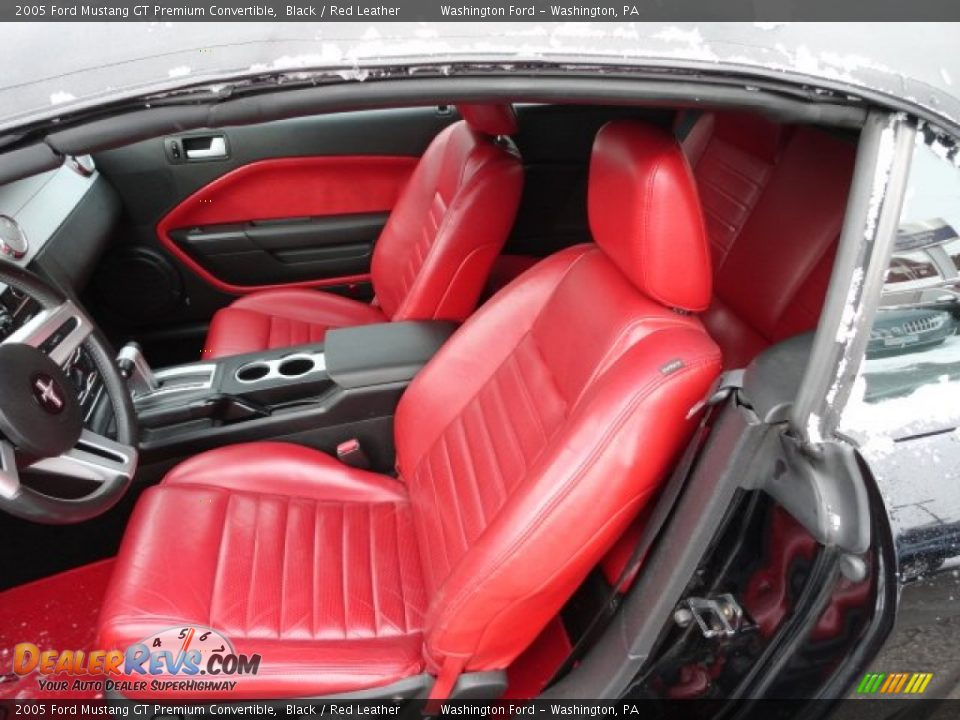 Red Leather Interior 2005 Ford Mustang Gt Premium Convertible Photo 10