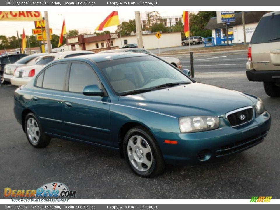 Hyundai Elantra Gls >> 2003 Hyundai Elantra GLS Sedan Ocean Blue / Beige Photo #3 | DealerRevs.com