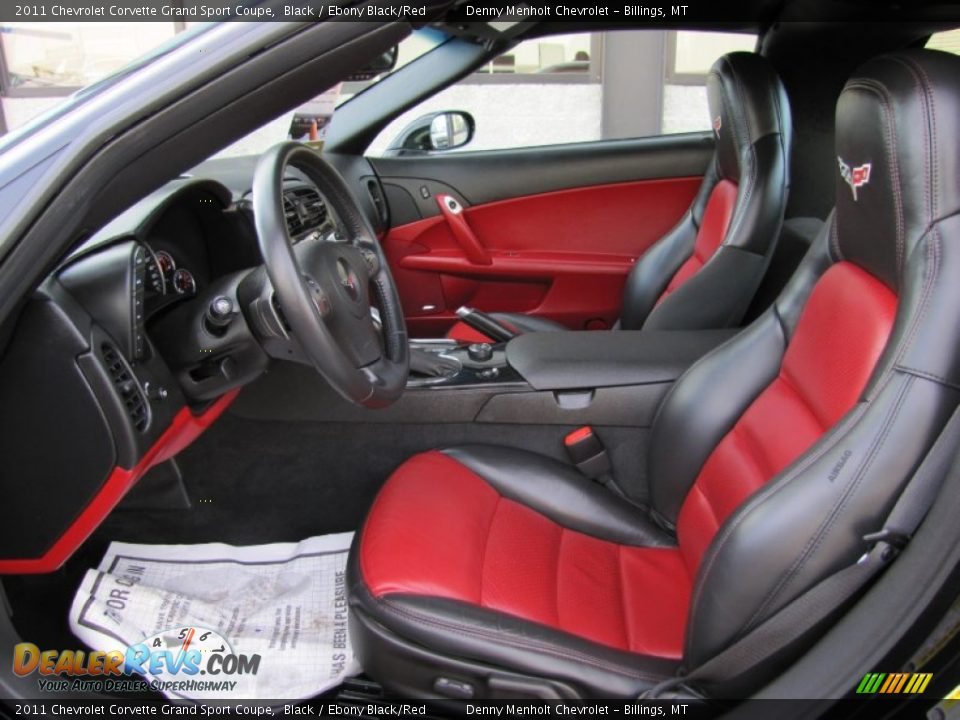 ebony black red interior 2011 chevrolet corvette grand sport coupe photo 8