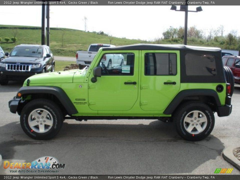 Gecko green 2012 jeep wrangler unlimited sport s 4x4 photo 5 dealerrevs com