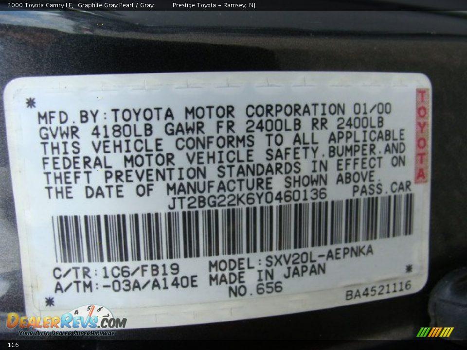 Toyota Color Code 1c6 Graphite Gray Pearl Dealerrevs Com