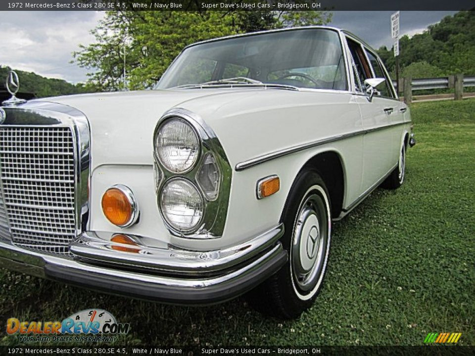 1972 mercedes benz s class 280 se 4 5 white navy blue for Navy blue mercedes benz