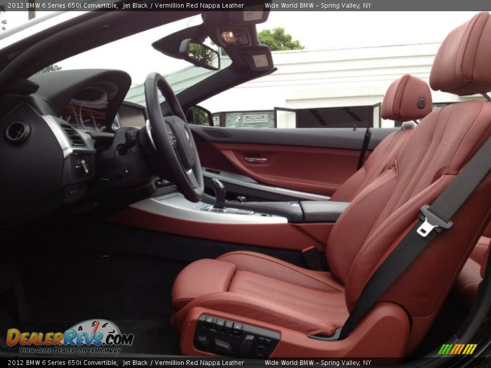 Vermillion Red Nappa Leather Interior 2012 Bmw 6 Series 650i Convertible Photo 9
