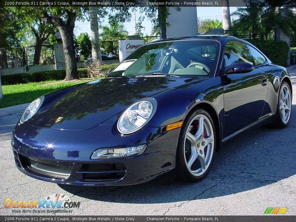 2008 porsche 911 carrera s coupe midnight blue metallic stone grey photo 7. Black Bedroom Furniture Sets. Home Design Ideas