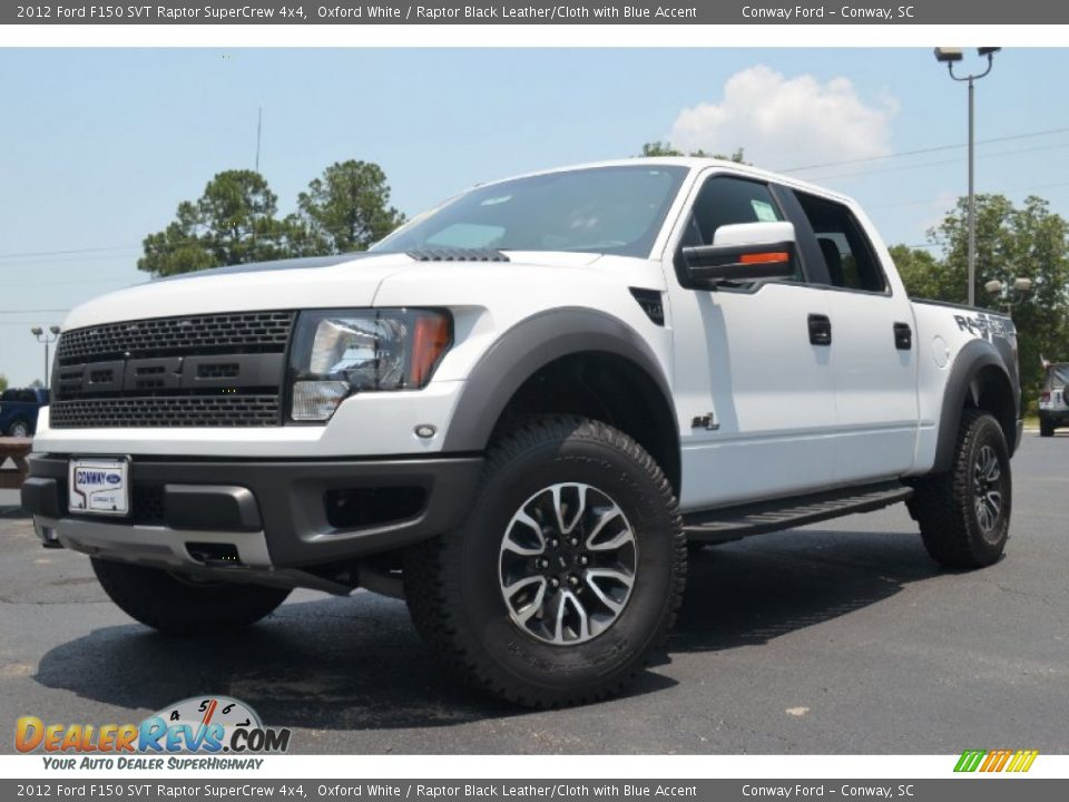 2012 ford f150 svt raptor supercrew 4x4 oxford white raptor black leather cloth with blue. Black Bedroom Furniture Sets. Home Design Ideas