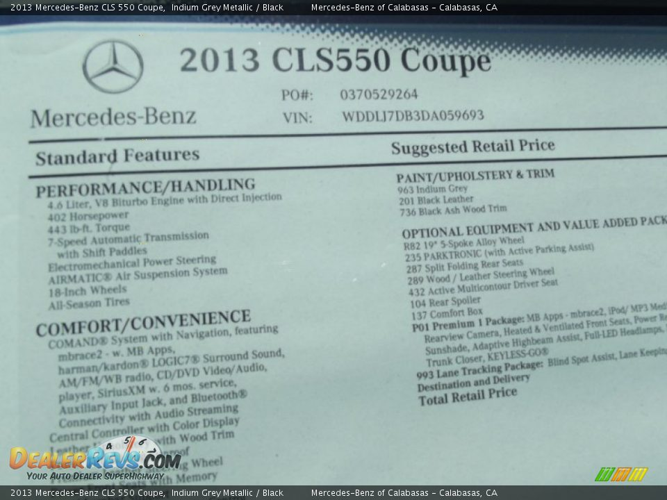 2013 mercedes benz cls 550 coupe window sticker photo 14 for Mercedes benz window sticker