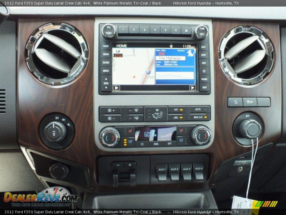 2012 ford f350 super duty lariat crew cab 4x4 white platinum metallic tri coat black photo 16