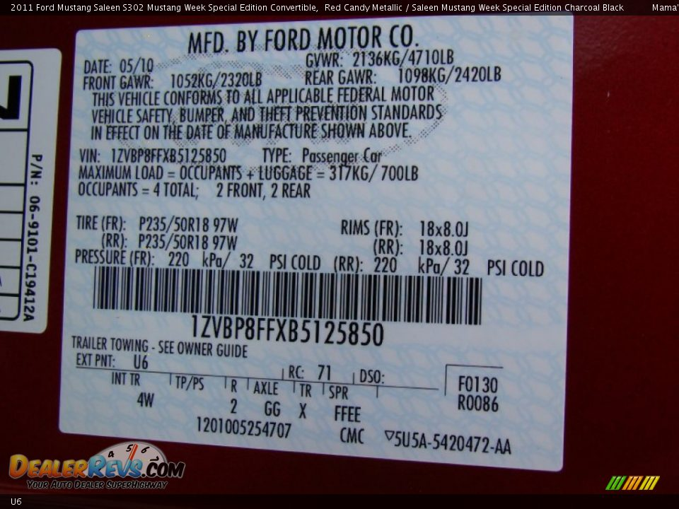 Ford Color Code U6 Red Candy Metallic