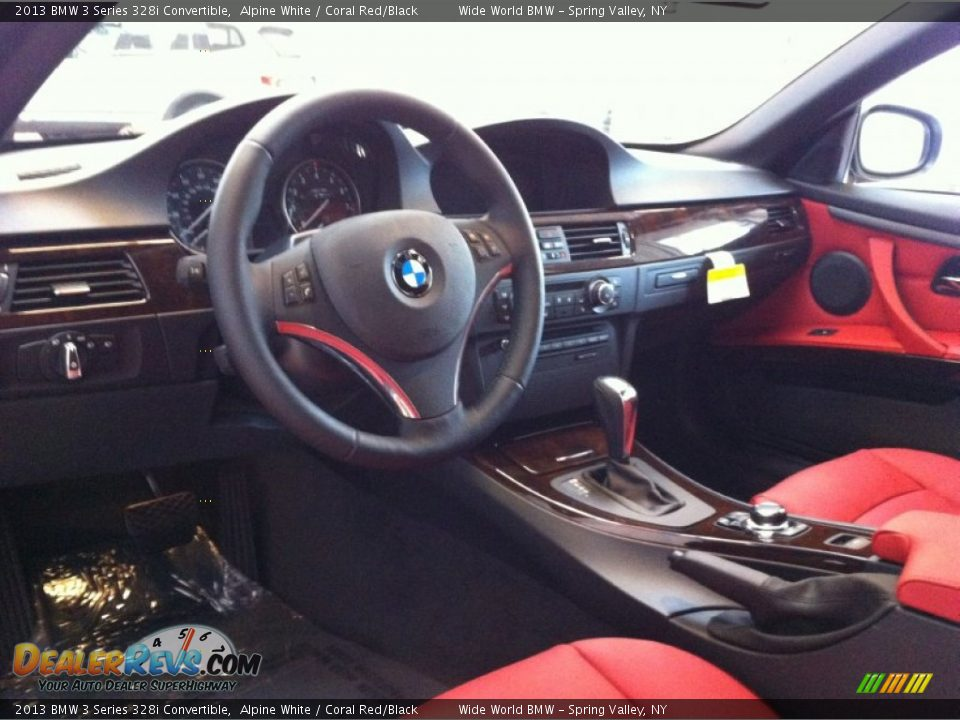 Coral Red Black Interior 2013 Bmw 3 Series 328i Convertible Photo 8