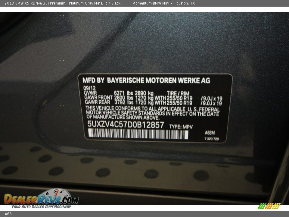 Bmw Color Code A68 Platinum Gray Metallic Dealerrevs Com