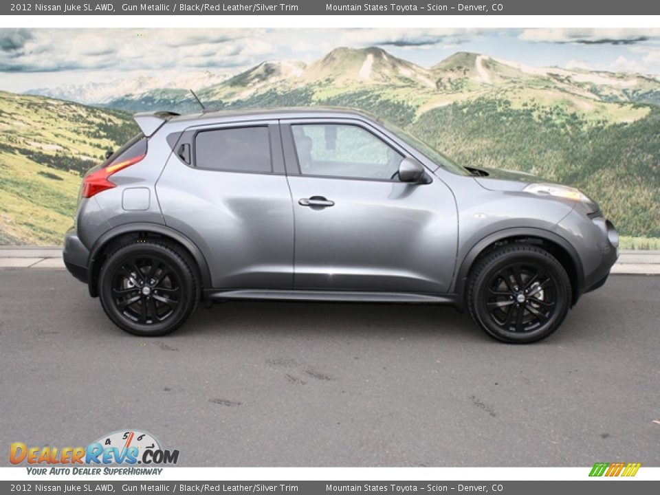 2012 Nissan Juke SL AWD Gun Metallic / Black/Red Leather/Silver Trim Photo #2