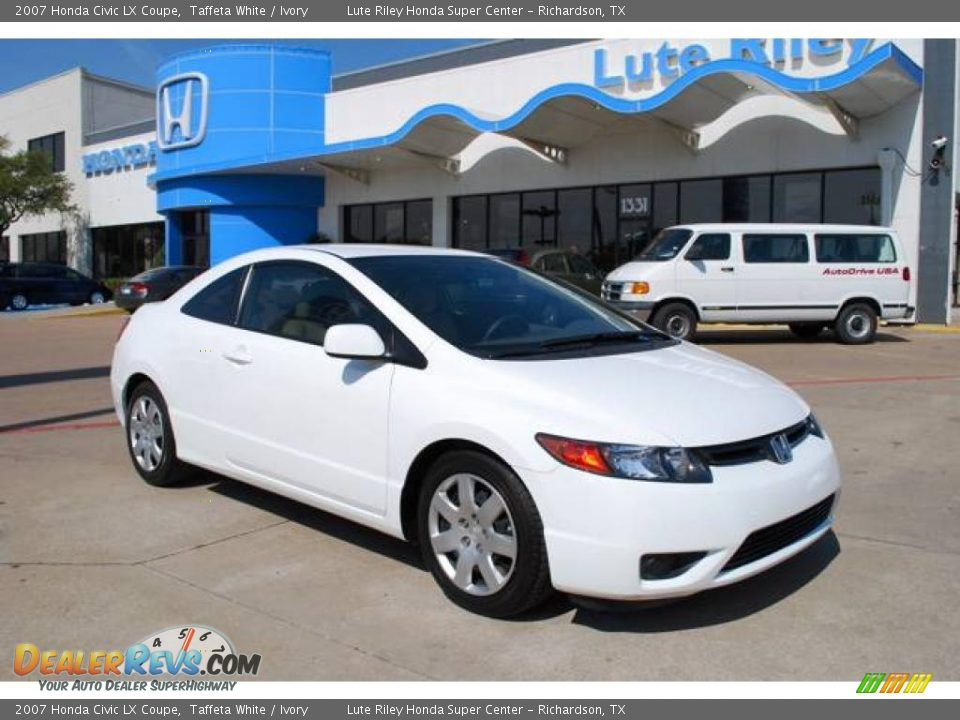 2007 Honda Civic Lx Coupe Taffeta White Ivory Photo 1