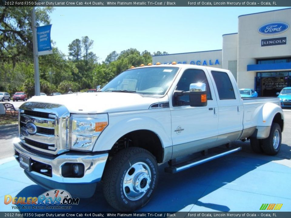 2012 ford f350 super duty lariat crew cab 4x4 dually white platinum metallic tri coat black. Black Bedroom Furniture Sets. Home Design Ideas
