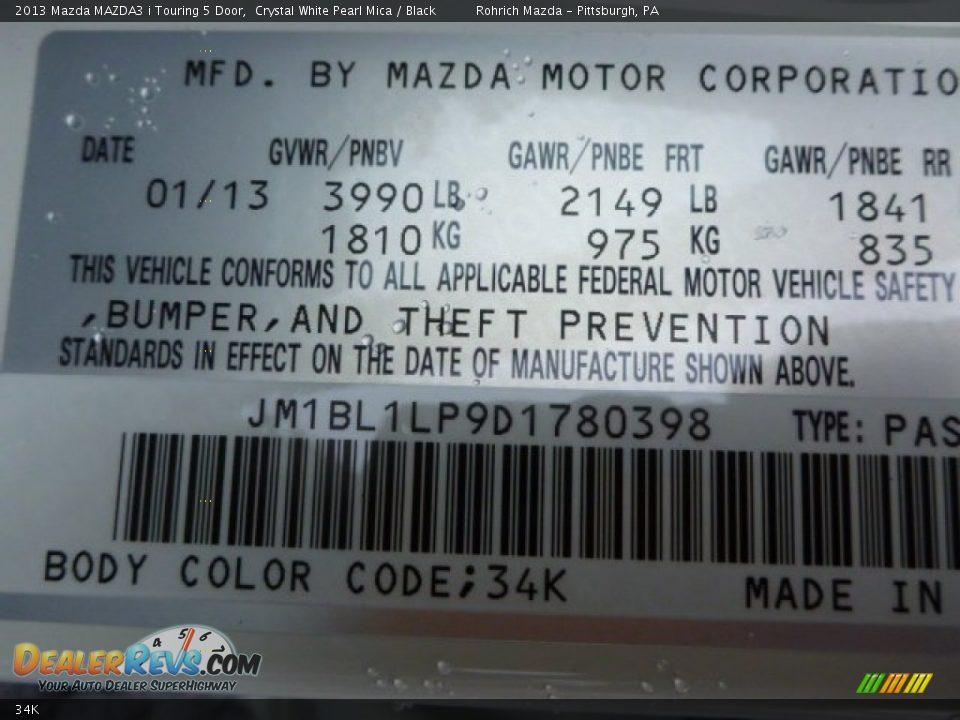 Mazda Color Code 34k Crystal White Pearl Mica Dealerrevs Com
