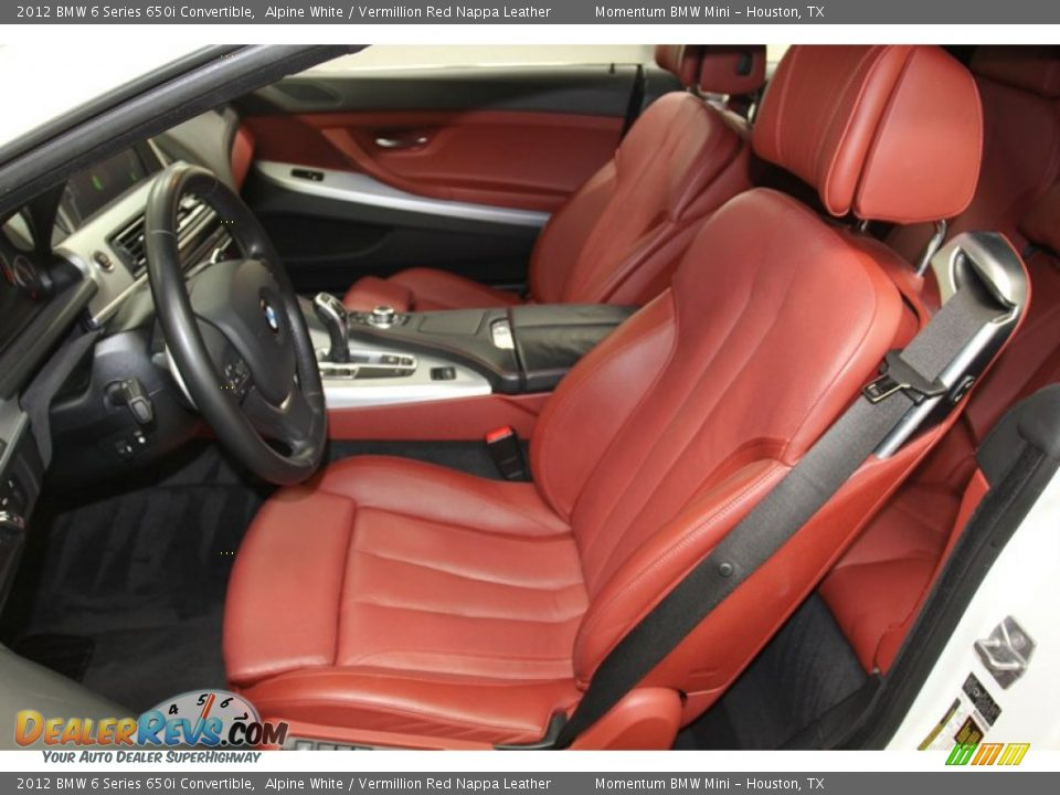 Vermillion Red Nappa Leather Interior 2012 Bmw 6 Series 650i Convertible Photo 3