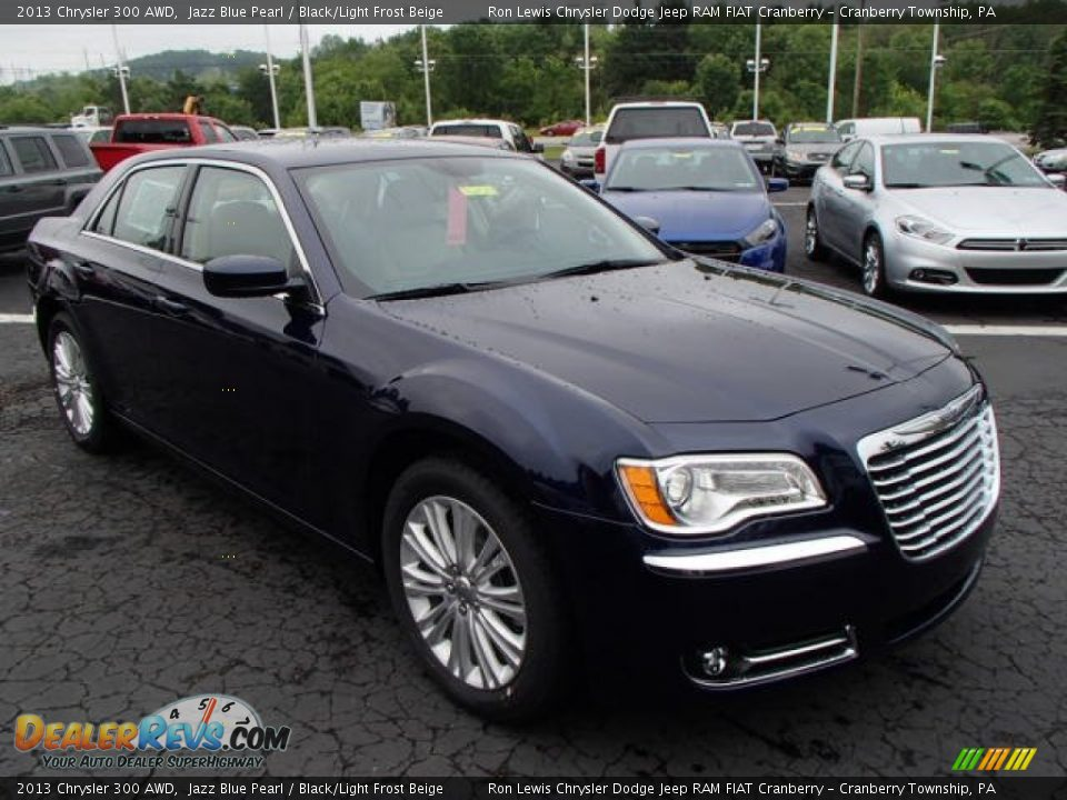 2013 Chrysler 300 AWD Jazz Blue Pearl / Black/Light Frost Beige Photo #4