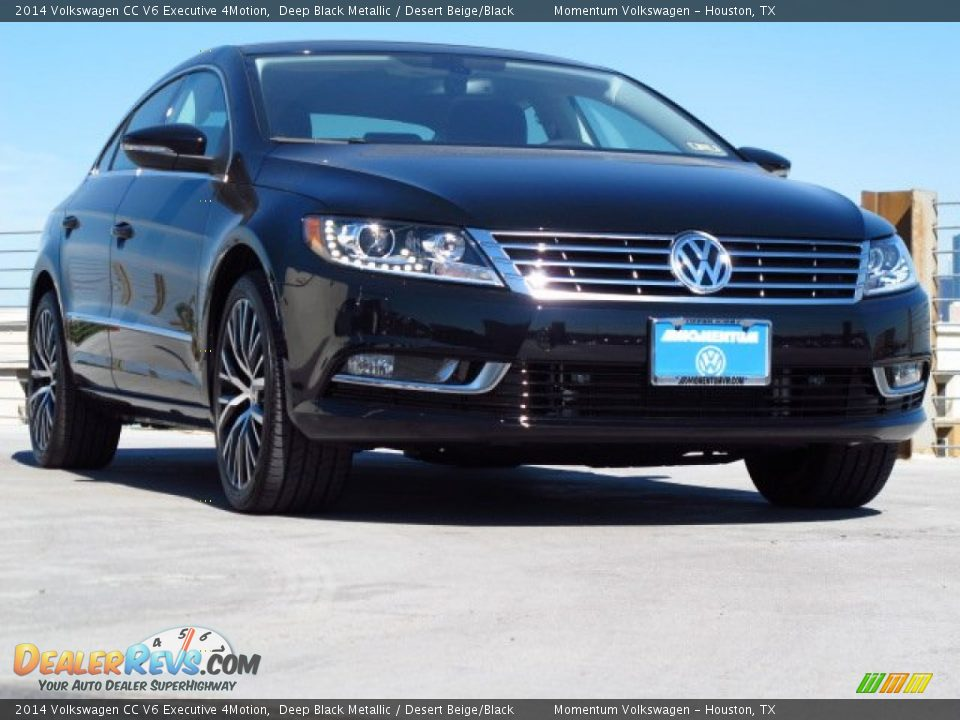 2014 Volkswagen CC V6 Executive 4Motion Deep Black Metallic / Desert Beige/Black Photo #1