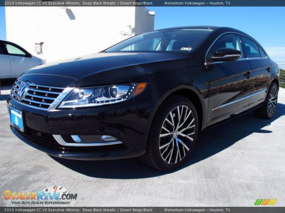 2014 Volkswagen CC V6 Executive 4Motion Deep Black Metallic / Desert Beige/Black Photo #3