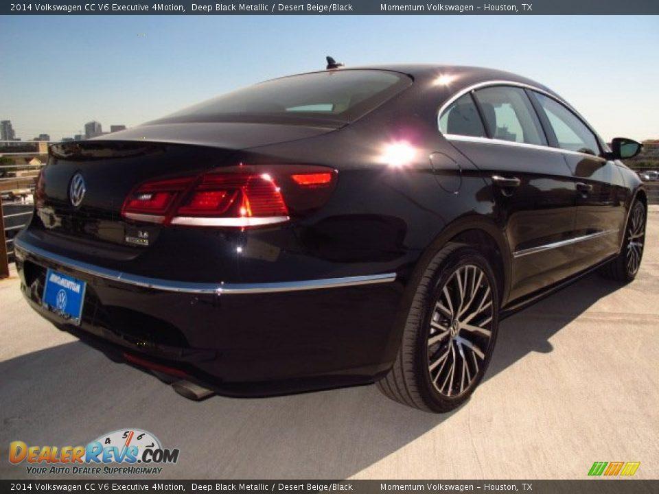 2014 Volkswagen CC V6 Executive 4Motion Deep Black Metallic / Desert Beige/Black Photo #6