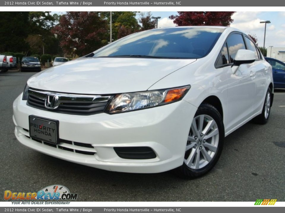2012 honda civic ex sedan taffeta white beige photo 1 for 2012 honda civic white