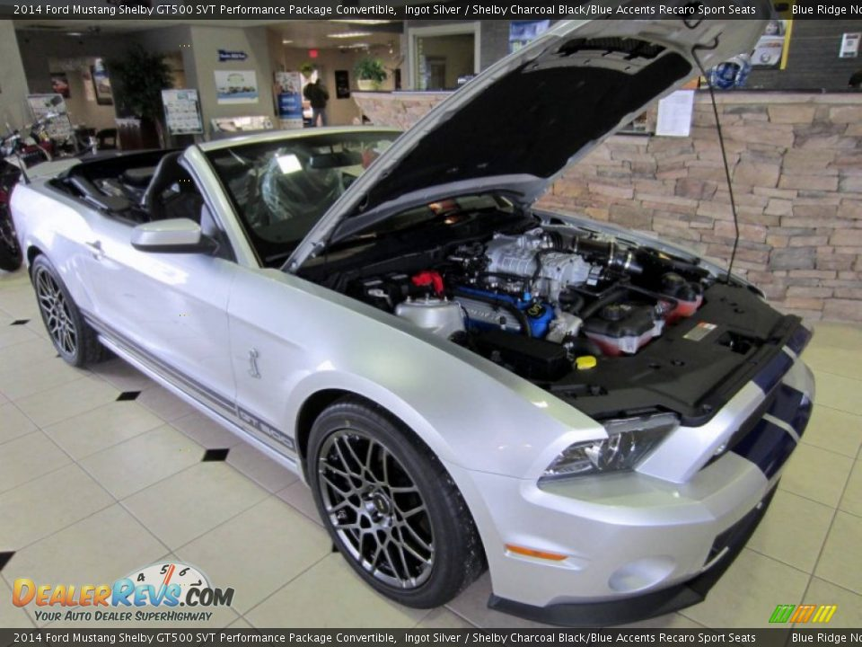 2014 Ford Mustang Shelby GT500 SVT Performance Package Convertible Ingot Silver / Shelby Charcoal Black/Blue Accents Recaro Sport Seats Photo #1