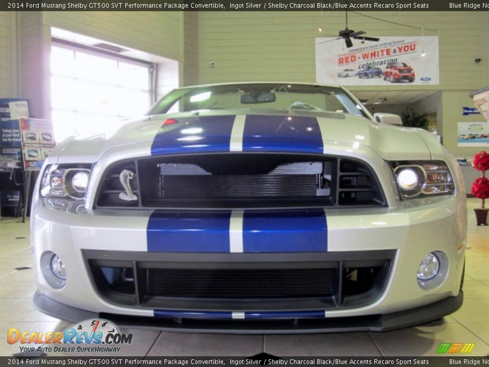 2014 Ford Mustang Shelby GT500 SVT Performance Package Convertible Ingot Silver / Shelby Charcoal Black/Blue Accents Recaro Sport Seats Photo #9