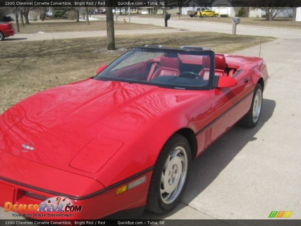 1990 Chevrolet Corvette Convertible Bright Red / Red Photo #2