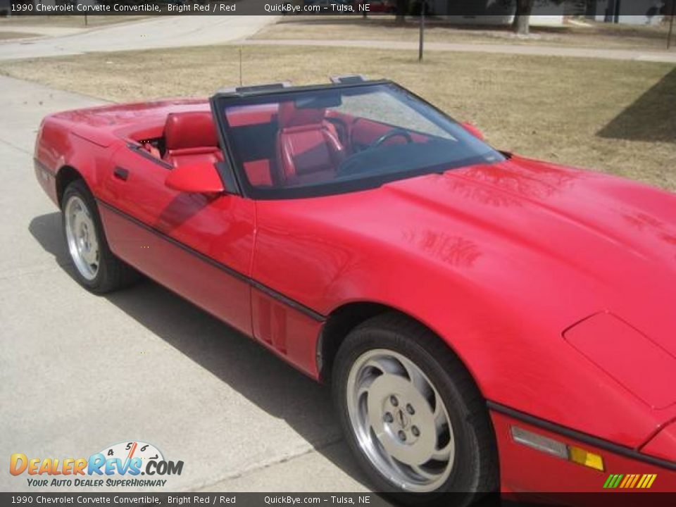 1990 Chevrolet Corvette Convertible Bright Red / Red Photo #3