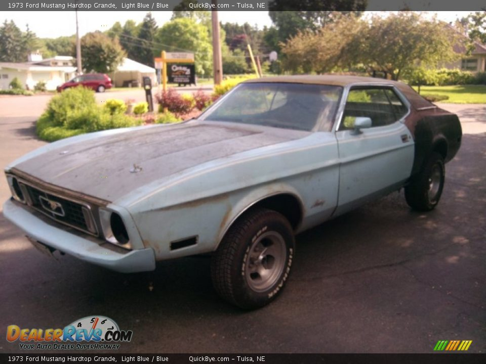 1973 Ford Mustang Hardtop Grande Light Blue / Blue Photo #1