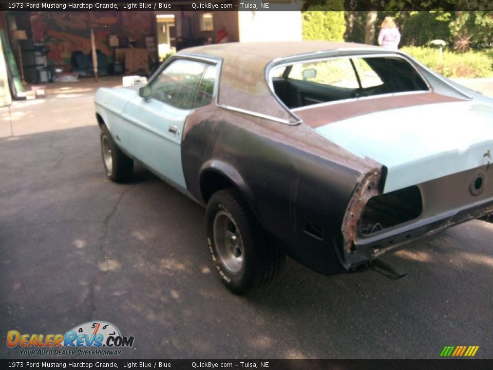 1973 Ford Mustang Hardtop Grande Light Blue / Blue Photo #3