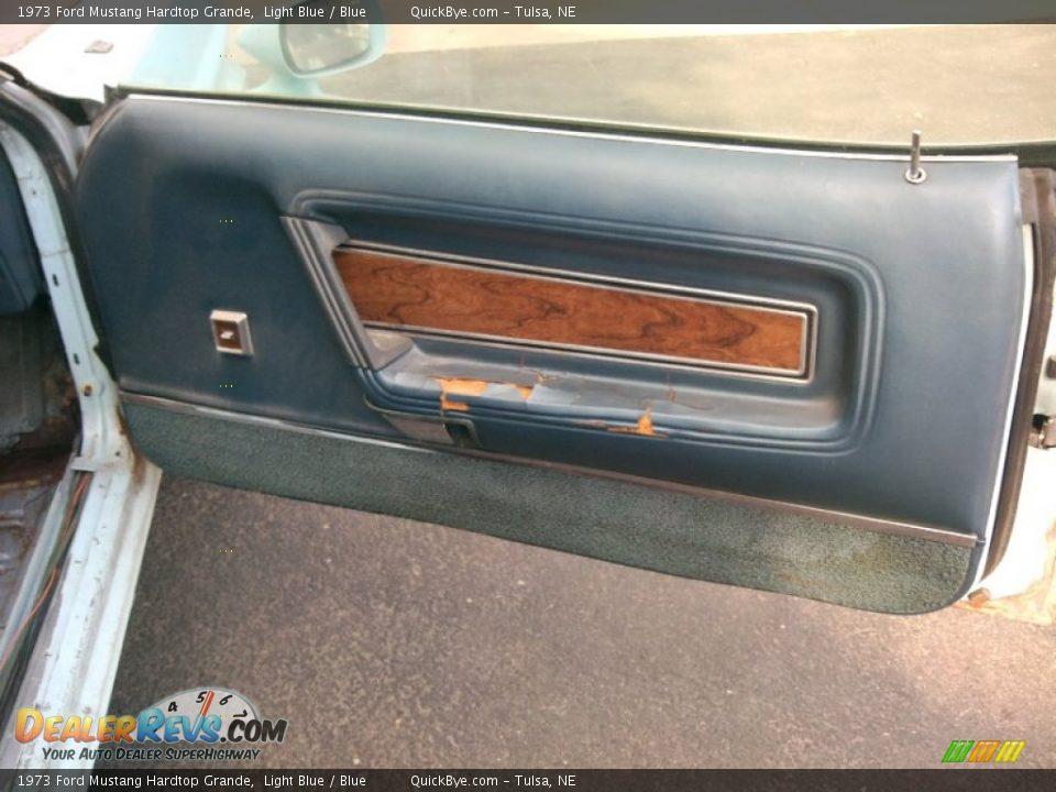 1973 Ford Mustang Hardtop Grande Light Blue / Blue Photo #12