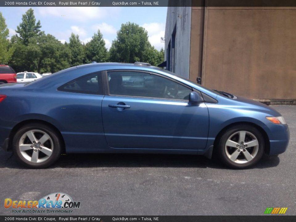 2008 Honda Civic EX Coupe Royal Blue Pearl / Gray Photo #2