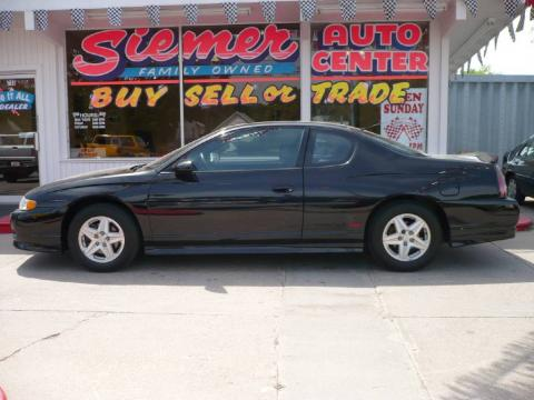 Black 2003 Chevrolet Monte Carlo SS with Ebony Black interior Black