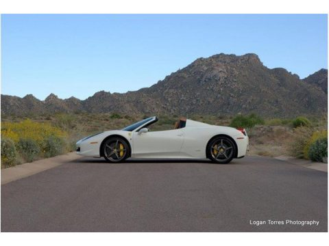 Bianco Avus (White) Ferrari 458 Spider.  Click to enlarge.