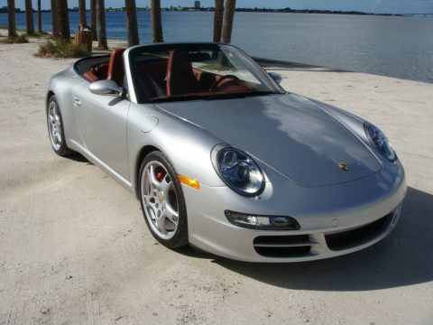 Arctic Silver Metallic Porsche 911 Carrera S Cabriolet.  Click to enlarge.