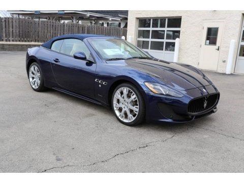 Blu Nettuno (Blue Metallic) Maserati GranTurismo Convertible GT Sport.  Click to enlarge.