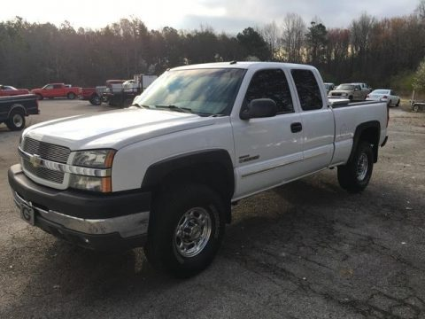 Summit White Chevrolet Silverado 2500HD LT Extended Cab 4x4.  Click to enlarge.