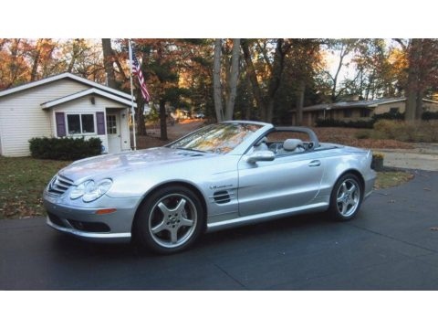 Brilliant Silver Metallic Mercedes-Benz SL 55 AMG Roadster.  Click to enlarge.