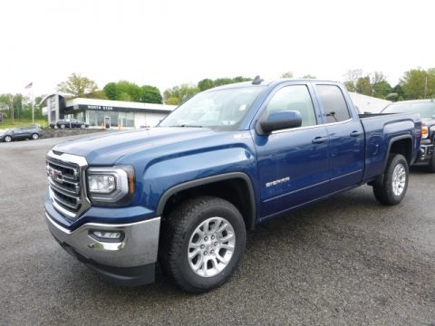 Stone Blue Metallic GMC Sierra 1500 SLE Double Cab 4WD.  Click to enlarge.